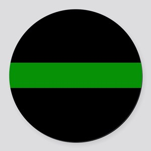 The Thin Green Line Round Car Magnet