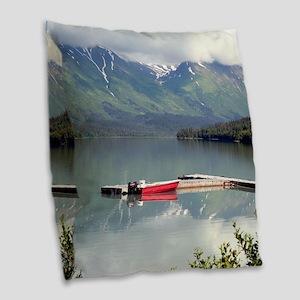 Boat on Trail Lake, Alaska Burlap Throw Pillow