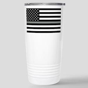 U.S. Flag: Black Flag & Stainless Steel Travel Mug