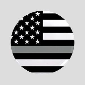 U.S. Flag: Black Flag & The Thin Grey Line Button