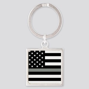 U.S. Flag: Black Flag & The Thin G Square Keychain