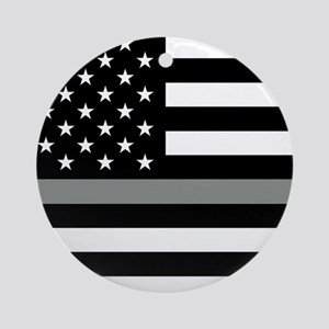 U.S. Flag: Black Flag & The Thin Gr Round Ornament