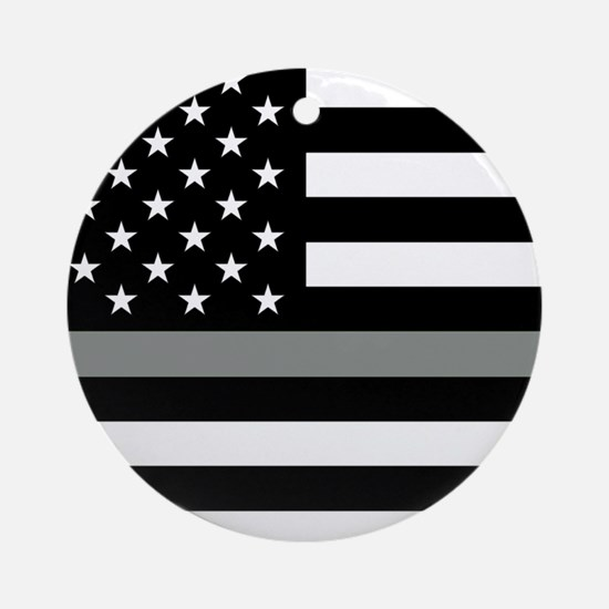U.S. Flag: Black Flag & The Thin Gr Round Ornament