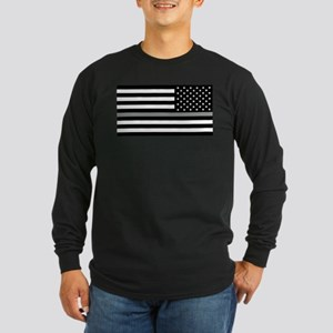 U.S. Flag: Black Flag & T Long Sleeve Dark T-Shirt