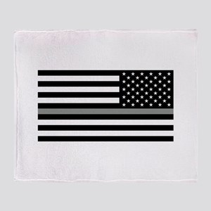 U.S. Flag: Black Flag & The Thin Gre Throw Blanket