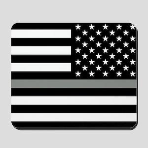 U.S. Flag: Black Flag & The Thin Grey Li Mousepad