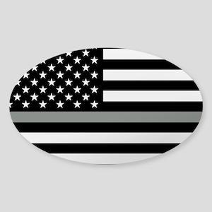 U.S. Flag: Black Flag & The Thin Gr Sticker (Oval)
