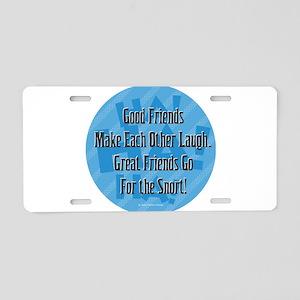 Laugh-Snort Aluminum License Plate
