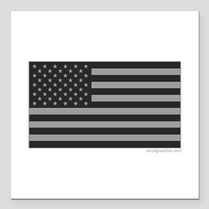 """Gray Tactical American F Square Car Magnet 3"""" x 3"""""""