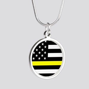 U.S. Flag: Black Flag & The Silver Round Necklace