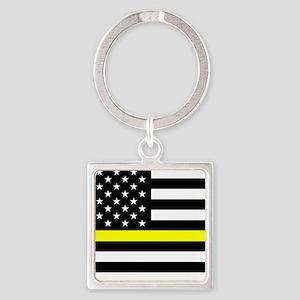 U.S. Flag: Black Flag & The Thin Y Square Keychain