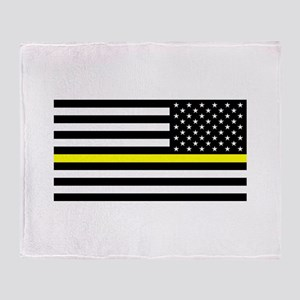 U.S. Flag: Black Flag & The Thin Yel Throw Blanket