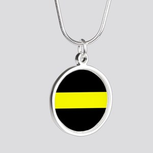 The Thin Yellow Line Silver Round Necklace
