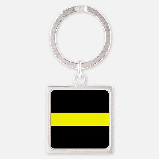 The Thin Yellow Line Square Keychain