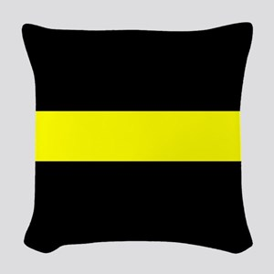 The Thin Yellow Line Woven Throw Pillow