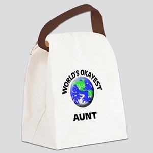 World's Okayest Aunt Canvas Lunch Bag