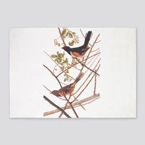 Towee Bunting Birds Audubon Vintage Art 5'x7'Area