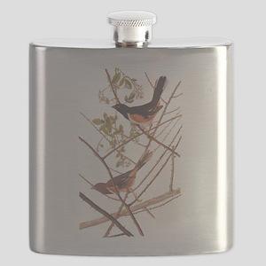 Towee Bunting Birds Audubon Vintage Art Flask