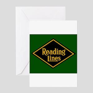 Reading Railroad Logo Green Greeting Cards