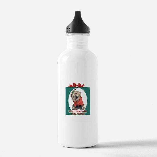 Yorkie Christmas Water Bottle
