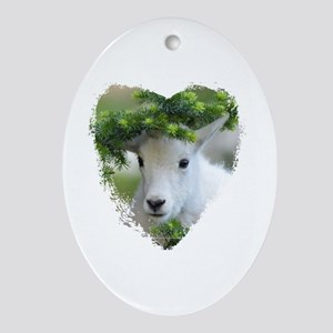 Heart Shape Baby Mountain Goat Oval Ornament