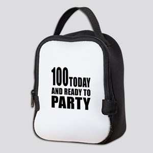 100 Today And Ready To Party Neoprene Lunch Bag