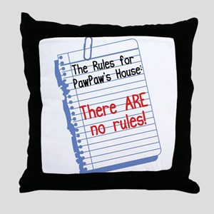 No Rules at PawPaw's House Throw Pillow