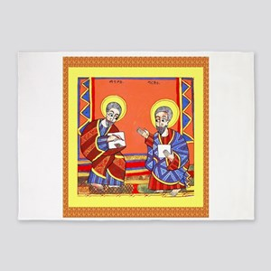 Ethiopian Bible St. Luke and St. Jo 5'x7'Area Rug