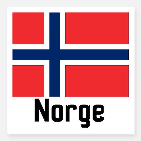 "Norge Square Car Magnet 3"" x 3"""