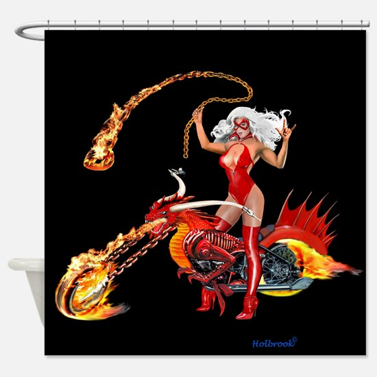 Red Hot Dragon Biker Babe Shower Curtain