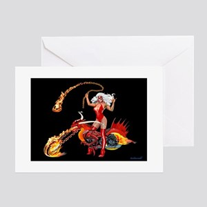 Red Hot Dragon Biker Babe Greeting Cards