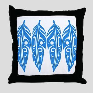Four Feathers Blue Throw Pillow