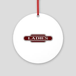 Ladies Toilet Station Name Sign Round Ornament