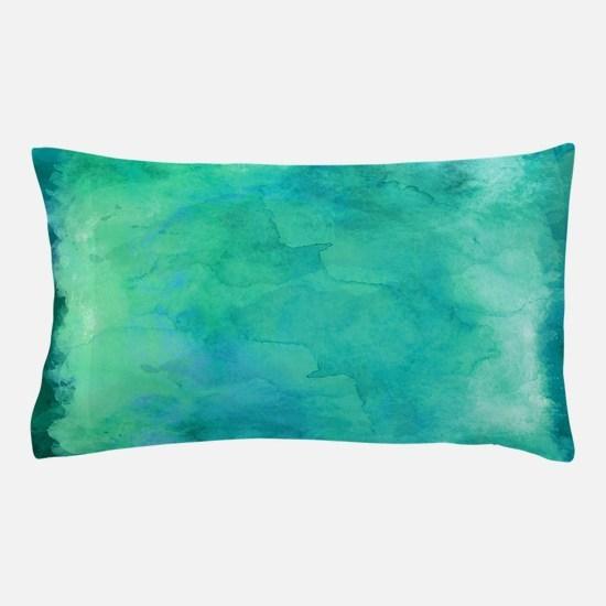 Blue Green Aqua Teal Turquoise Waterc Pillow Case