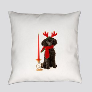 Black Poodle Dog Christmas Candle Everyday Pillow