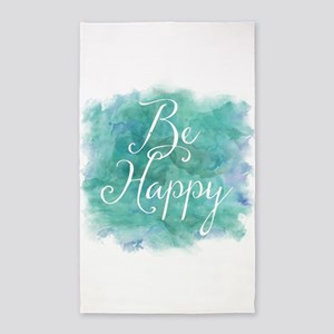 Be Happy Watercolor Inspirational Quote Area Rug