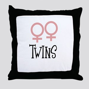 Girl Twins by Leslie Harlow Throw Pillow
