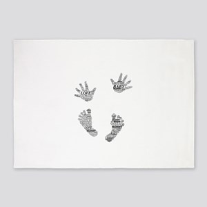 Baby Hands and Feet by Leslie Harlo 5'x7'Area Rug