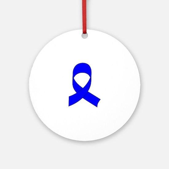 Blue Awareness Ribbon Round Ornament