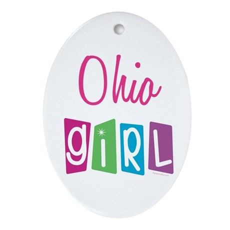 OHIO GIRL! Oval Ornament