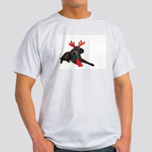 Black Christmas Poodle with Antlers and Re T-Shirt