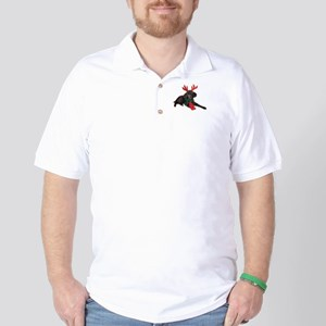 Black Christmas Poodle with Antlers and Golf Shirt