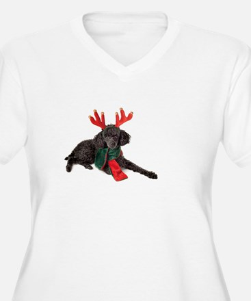 Black Christmas Poodle with Antl Plus Size T-Shirt