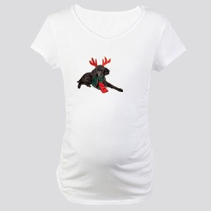 Black Christmas Poodle with Antl Maternity T-Shirt