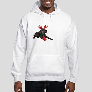Black Christmas Poodle with Antl Hooded Sweatshirt