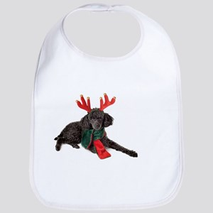 Black Christmas Poodle with Antlers and Red Sc Bib