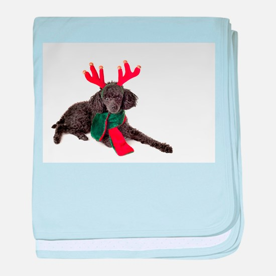 Black Christmas Poodle with Antlers a baby blanket