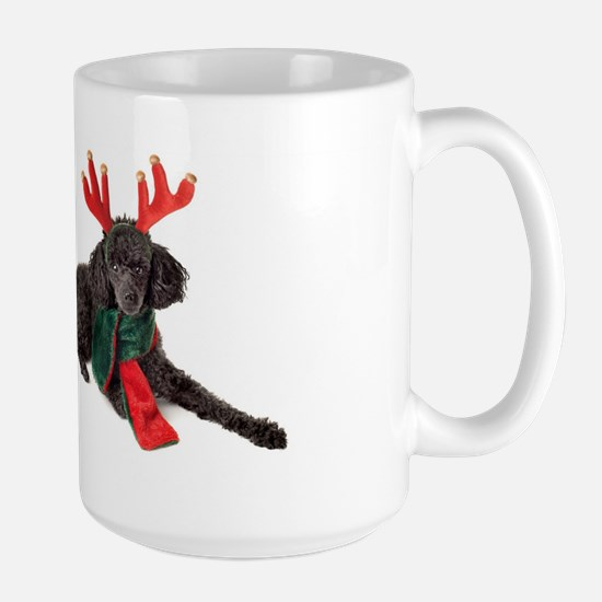 Black Christmas Poodle with Antlers and Red S Mugs
