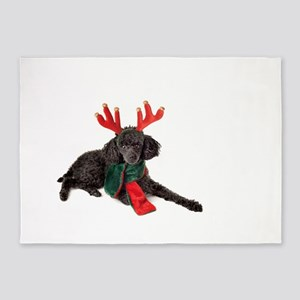 Black Christmas Poodle with Antlers 5'x7'Area Rug