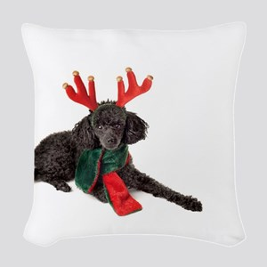 Black Christmas Poodle with An Woven Throw Pillow